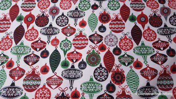 Christmas Flannel Fabric - Colorful Ornaments - By the yard - 100