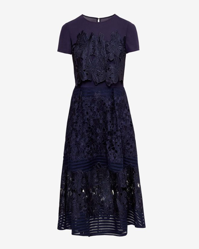 Layered lace midi dress - Dark Blue | Dresses | Ted Baker