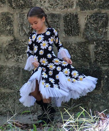 Another great find on #zulily! Black Daisy Flamenco Ruffle Dress - Toddler & Girls by Mia Belle Baby #zulilyfinds