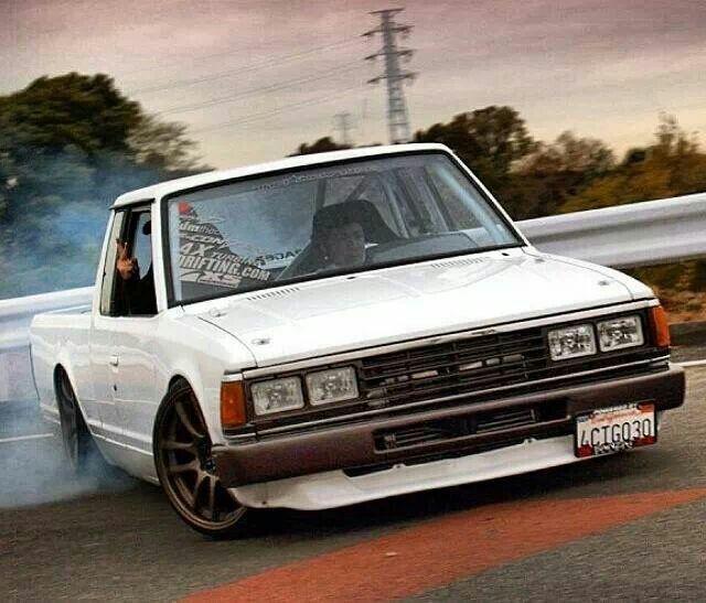 Drifting Nissan truck..