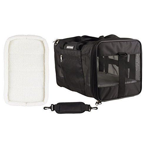 Pet Cat Dog Carrier Travel Bag Safe Durable Comfortable 2 Fleece Pads Black NEW #CaldwellsPetSupplyCo