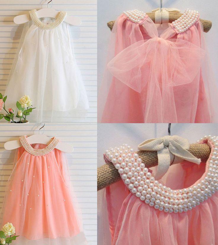 New Toddler Girls Baby Flower Girl Cute Wedding First Birthday Top Pearl Dress #NoBrand