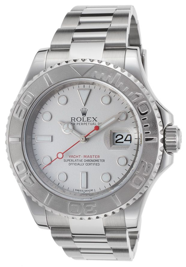Rolex  Men's Pre-Owned Yacht-Master Auto SS Silver-Tone Dial Rolesium Case