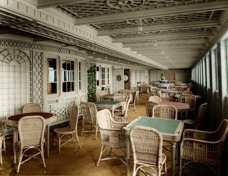"""""""… Café Parisien, which is an entirely new feature on board ship, …it will be seen that this café has the appearance of a charming sun-lit veranda, tastefully decorated in French trellis-work with ivy and other creeping plants, and is provided with small groups of chairs surrounding convenient tables."""""""