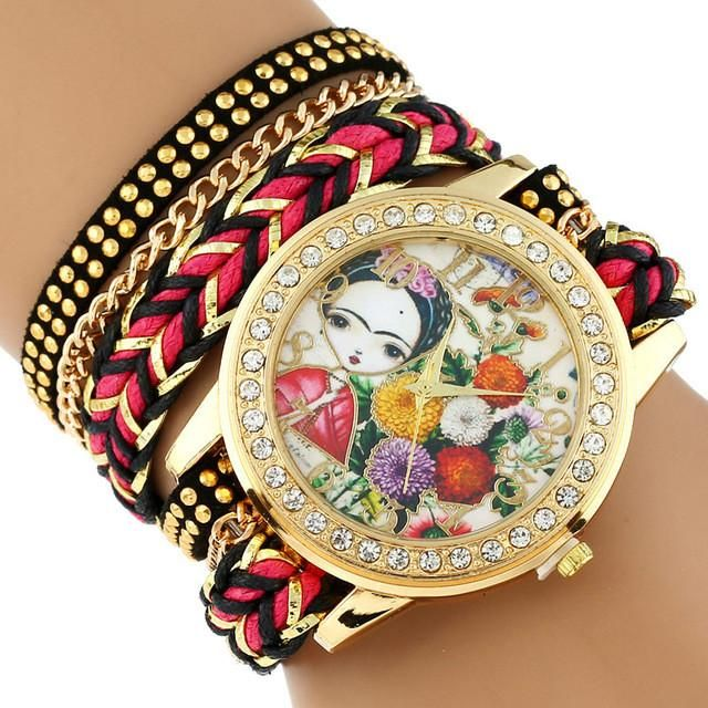 Gnova Platinum TOP Large Strap BIG Dial Ethnic mexican Frida Carnation flowers Fashion woman wristwatch chain Bracelet watch