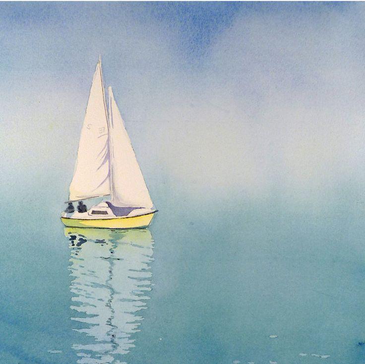 (blue and yellow) Sail Boat Art Watercolor Painting Print - Sailboat Painting, Nautical Watercolor Painting - Men, Women - Geneva Switzerland - Turquoise. $28.00, via Etsy.
