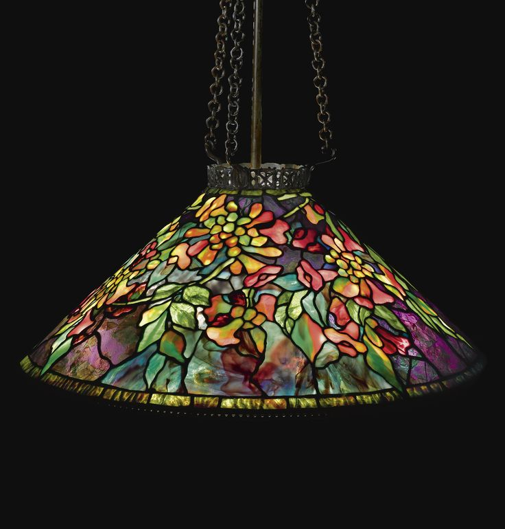 "** Tiffany Studios, New York, Favrile Leaded Glass and Patinated Bronze ""Trumpet Creeper"" Chandelier."