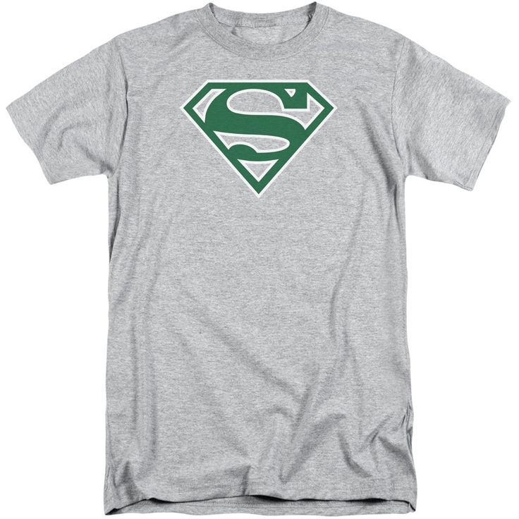 Superman/Green & White Shield Short Sleeve Adult T-Shirt Tall in Athletic Heather