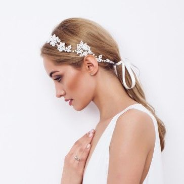 Paperwhite Beaded Headpiece