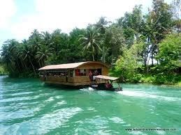 """A typical tour along the Loboc River usually starts with a buffet ala """"All You Can Eat"""" on one of the Floating Restaurants and is followed by a 1 hour cruise up and down the Loboc River. The boat will turn around at some small waterfalls where it can not go any further."""