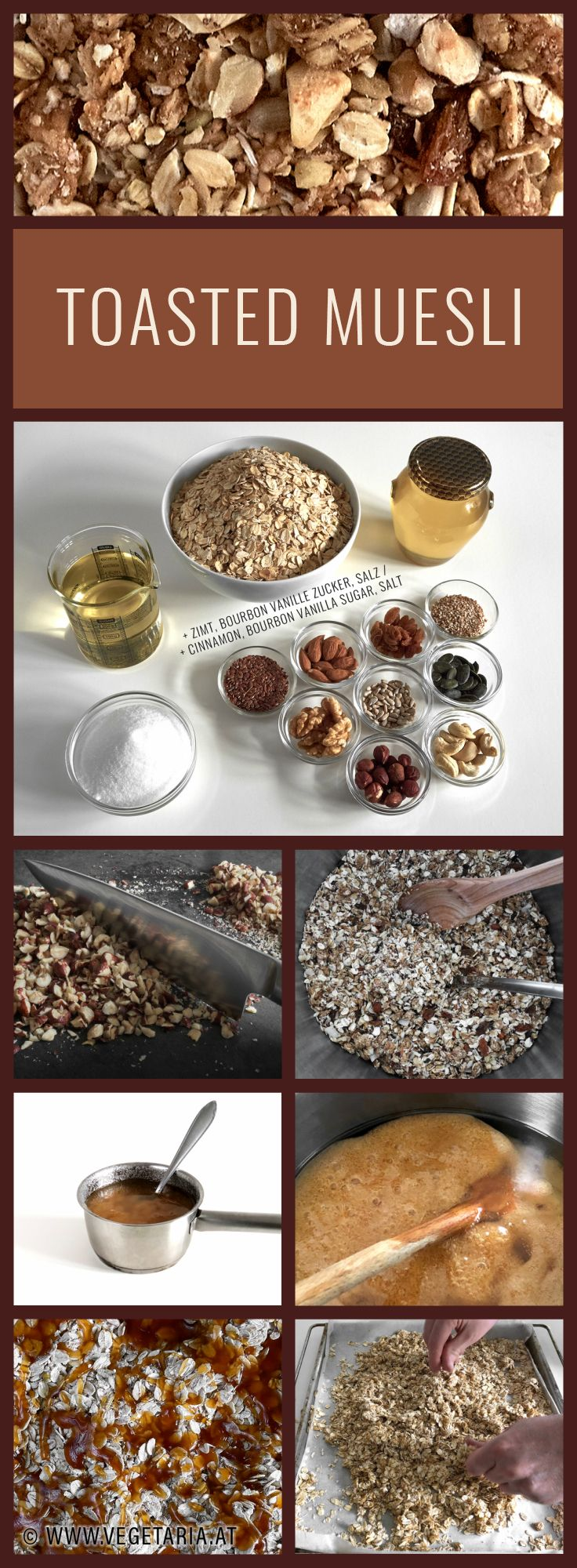Make your own muesli, just the way you like it! Be warned, once you've tasted this you'll never be satisfied with store bought muesli again.