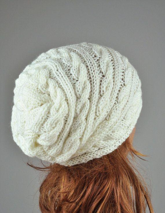 Sombrero del patrón del cable tejen a mano mujer sombrero en