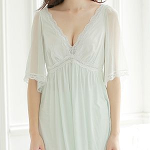 Summer Sleep Lounge Lady Sleepwear Deep V-neck Long Nightdress Tag a friend who would love this! Get it here