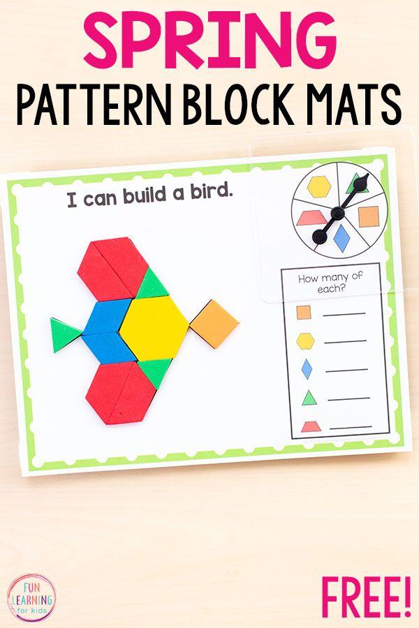 Spring Pattern Block Mats Pattern Blocks Spring Math Math
