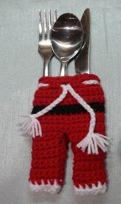 Servilletero navideño a crochet.