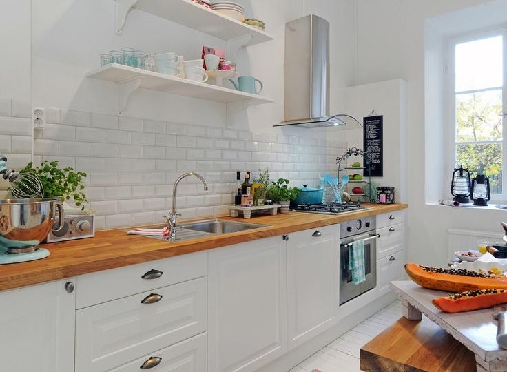Kitchen-butcher block counter tops white tile backsplash