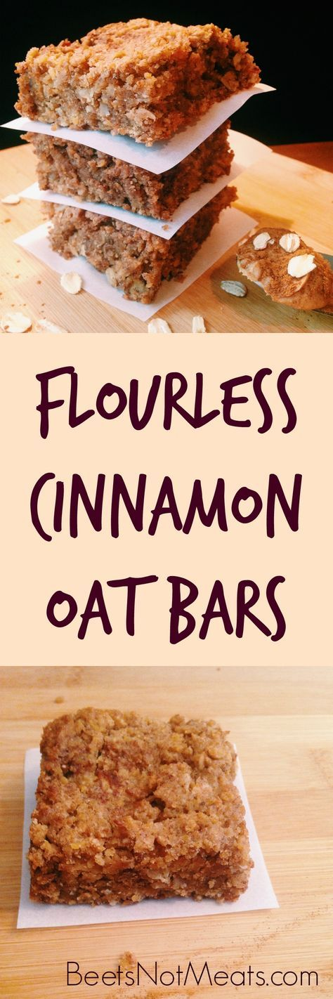 Flourless Cinnamon Oat Bars - vegan, gluten free, and made with chickpeas!