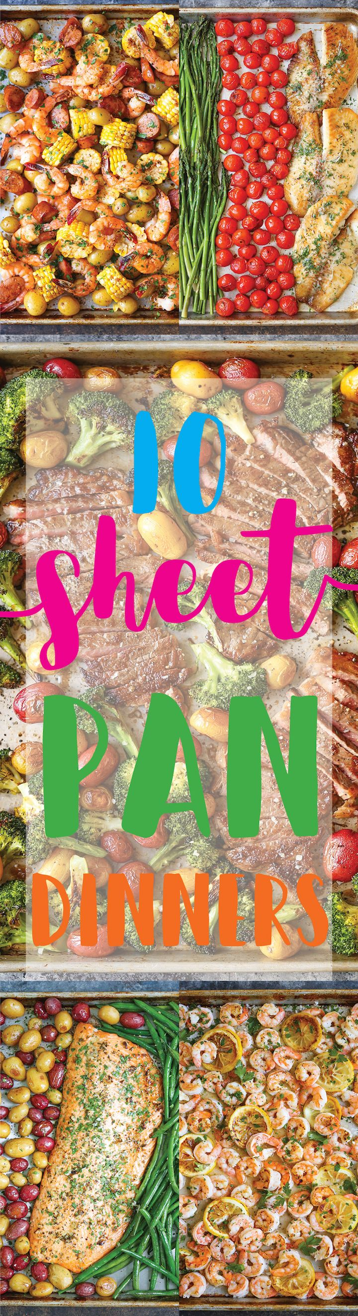 10 Sheet Pan Dinners - Speedy, family-friendly, no-brainer dinners you need to make tonight! These dinners are so easy to make and clean up is a breeze!