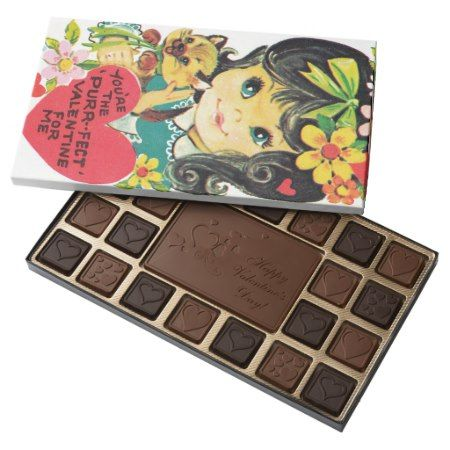Retro Vintage Valentine girl box chocolate - click/tap to personalize and buy