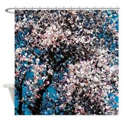 Almond Tree Low Poly Floral Shower Curtain