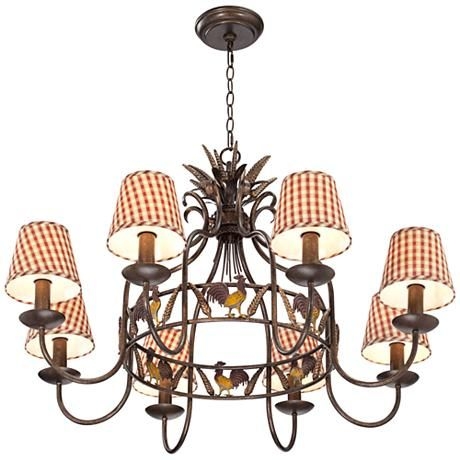 remarkable kitchen country chandelier | Country Kitchen Rooster 12-Light Antique Bronze Chandelier ...