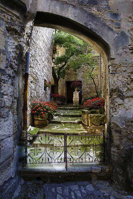 Inside a medieval castle nestled in the mountains of Les Baux de Provence, France