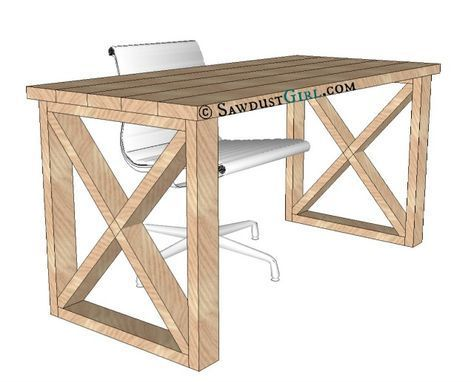 X Leg Desk plans and tutorial - free and easy plans from https://sawdustgirl.com. #DIY #Furniture #Plans