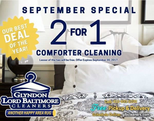 S E P T E M B E R S P E C I A L - Our Best Deal Of The Year! 😀2 for 1 Comforter Cleaning   Offer Expires 9/30/17Visit Glyndon Lord Baltimore Cleaners online to get your coupon! ➔ http://www.glyndonlordbaltimore.com/monthly-specials/*FREE Pickup & Delivery - Schedule Online 👍🏻 or Call 410-833-5200(Please present coupon at time of service. Lesser of the two will be free.)