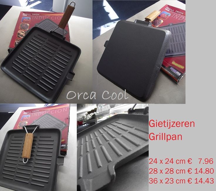 Gietijzeren Grillpan met inklapbare handgreep. Geschikt voor inductie. #Pannen | OrcaCool
