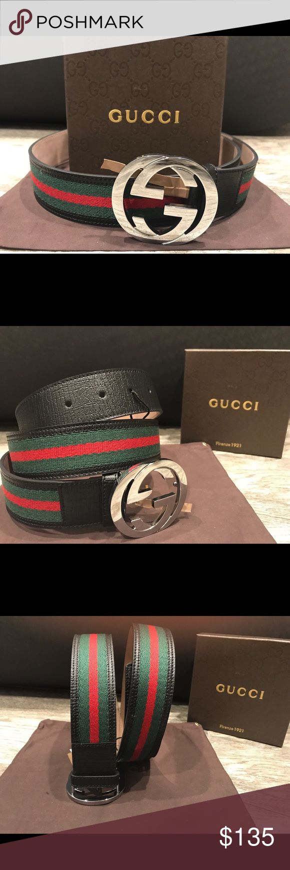 Authentic Mens Gucci Belt Black Green Red Hello this belt is made in Italy and is 100% authentic!  I have a few different sizes, so let me know if you need help with any sizing.  If you would like more than one belt I will give you a good deal! Please put in your respectable offers! Thank you and happy poshing!😊 Gucci Accessories Belts