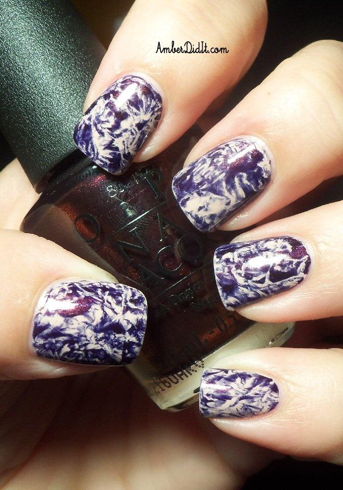 Saran Wrap #Nail_Art @Amberdidit! | #marbled effect | sponging with plastic wrap