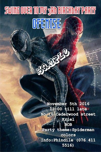 Card: Spiderman Birthday Invitations Good VS Evil