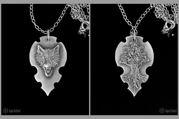 'Direwolf and the Weirwood' - two sided hand formed silver amulet. by Aga Sobel