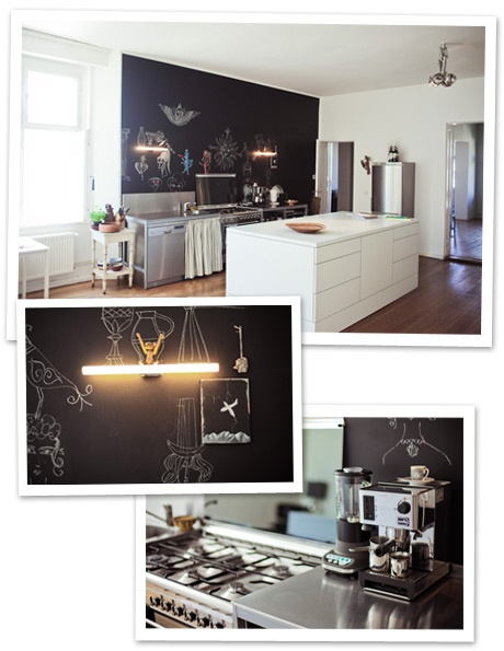 Modern & Quirky in Berlin: Interior, Chalkboard Walls, Delightful Kitchen, Drawing, Killer Kitchens