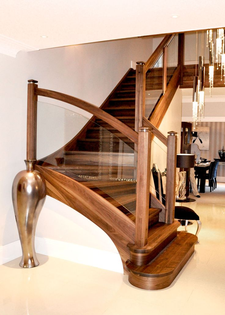 Best A Walnut And Glass Stair With A Distinctive Quarter Turn 400 x 300