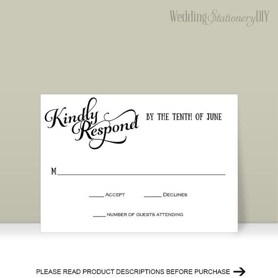 RSVP wedding RSVP cards Printable response by WeddingstationeryDIY
