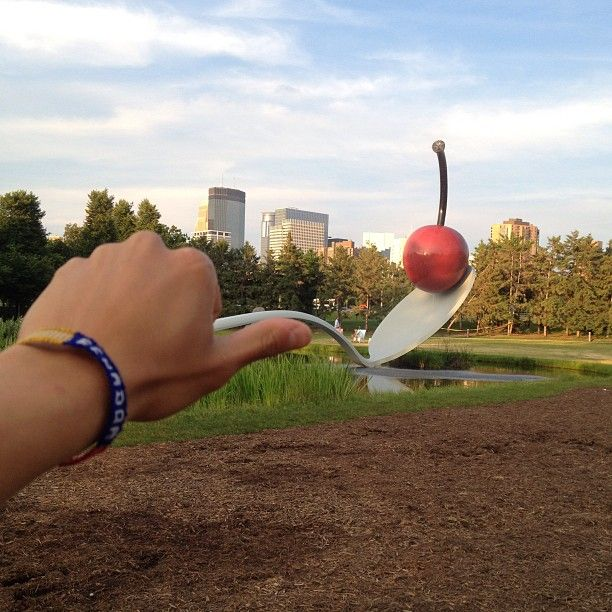 Visitors to the Minneapolis Sculpture Garden have shared some really creative and funny pictures with the Spoonbridge and Cherry. Want to see yourself here? Use #SpoonCherry on Instagram and Twitter!