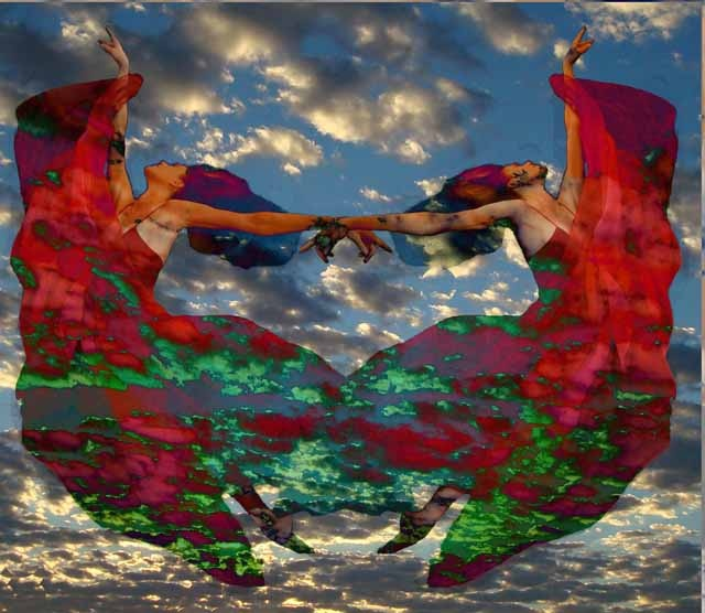Dancers in the sky Photocollage http://www.visionandwords.com, use creativity to nourish your spirit and vision boards to empower your life