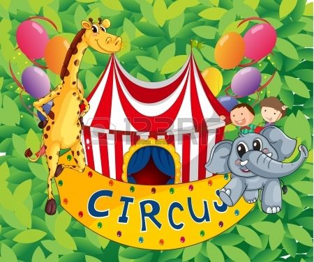 Illustration of a circus tent with animals and kids
