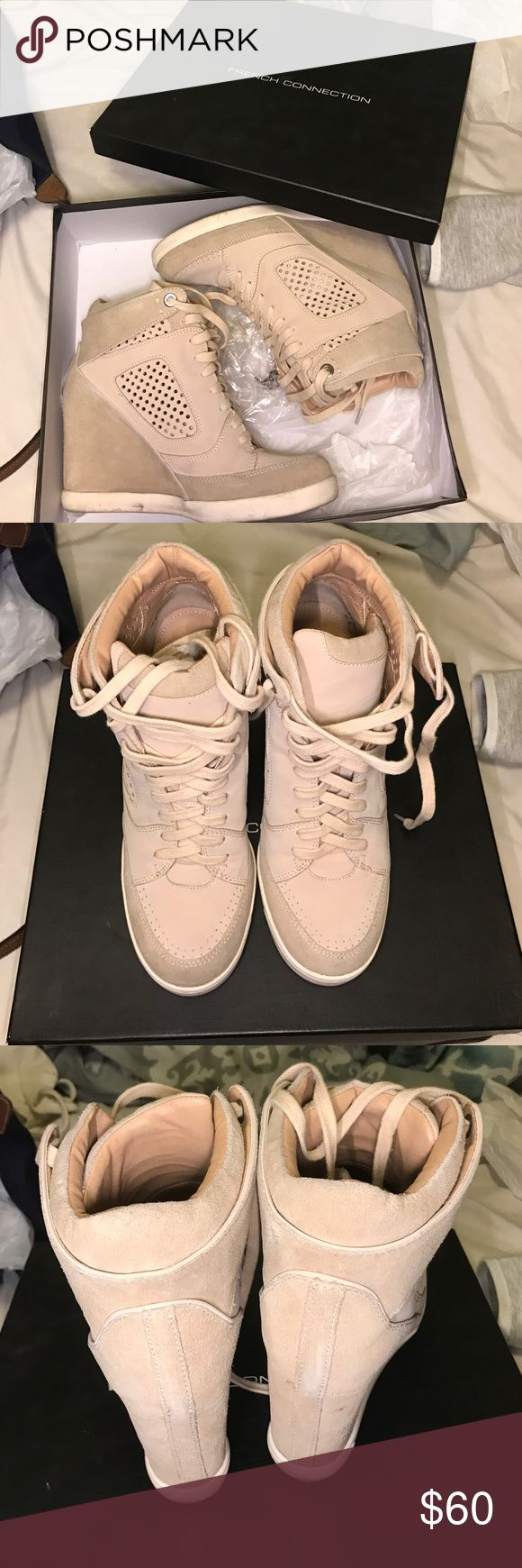 French connection Marla wedge sneakers Only worn a couple of times still in really good condition color is nude French Connection Shoes Sneakers