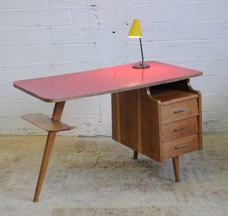 Jacques Hauville; Oak and Melamine Desk, c1950.