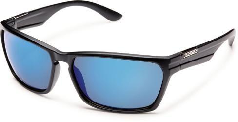 SunCloud Men's Cutout Polarized Sunglasses Matte Black Blue Mirror