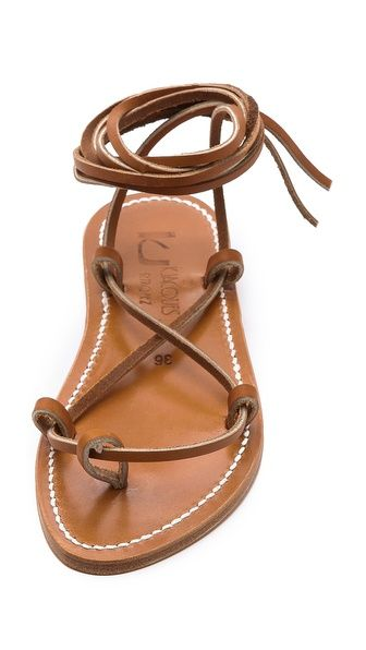 Shoes > Sandals > Flat Description Slim leather straps crisscross over the foot and tie at the ankle on classic K. Jacques sandals. Leather sole. Leather: Calfskin. Made in France. This item cannot be gift-boxed. > Sandals ...