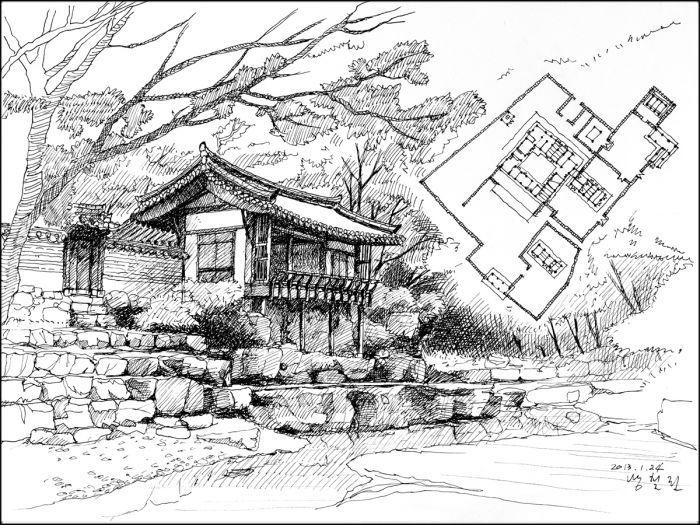 獨樂堂 溪亭독락당계정 ----경주시 안강읍 옥산리의 계곡에 자리잡고 있는 독락당은 조선시대의 유학자인 회재 이언적(李彦迪, 1491~1553) 선생이 관직에서 돌아와 거처했던 주거이다. 회재선생은 독락당 가까이 있는 옥산서원에 배향되었다.  1532년에 지어진 독락당은 1500년대 이전에 이언적선생의 부친 이번에 의해 지어진것으로 알려진 이 정자와 1515년 작은부인이 시집올 때에 지어진 안채와 행랑채 다음으로 부가되어 지어진 사랑채다. 독락당이 지어질 때에 이 계정은 뒷쪽으로 덧붙혀져 ㄱ 자의 평면 형태을 갖게 된다.   계곡 옆으로 지어진 이 계정은 자연과  일체가 되어 한포기 그림과도 같은 아름다움을 자랑하지만 루안에 앉아 자연을 만끽하는 선비의 모습을 상상하면 이 계정보다 더 이상의 낙원은 없을 듯 하다. 그 이후 독락당에는 사당, 어서각(御書閣) 등의 건축물들이 들어 서면서 그 영역이 완성 된다.  그림  글  :/ 방 철린/ 方 喆麟/ Bang, Chulrin