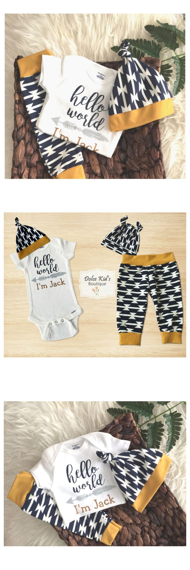 Looking for the perfect outfit to bring a newborn baby boy from the hospital. Available in toddler sizes also.