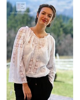 Hand made Hemstitch embroidery on this delicate Romanian blouse - traditional Bohemian top - worldwide shipping!