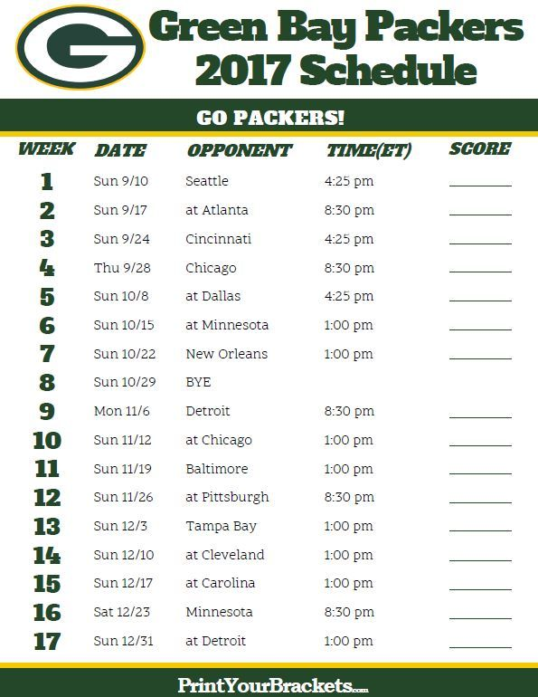 2017 Green Bay Packers Football Schedule
