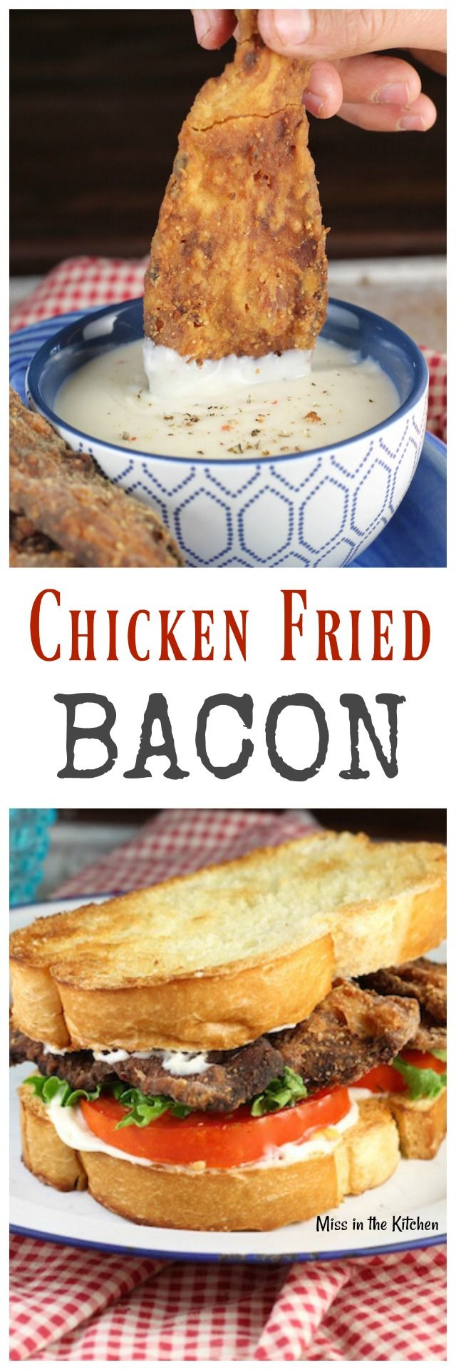 Chicken Fried Bacon Recipe is an epic appetizer or makes the best BLT you have ever tried! MissintheKitchen.com (ham sandwich recipes appetizers)