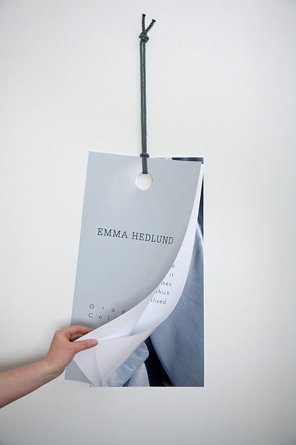 Overall graphic concept and brand identity for fashion designer Emma Hedlund's graduate collection, including a lookbook, invites, business cards and hangtags.