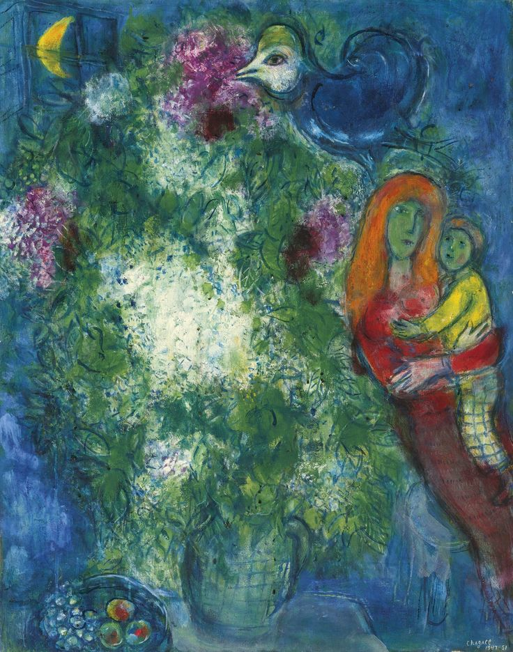 Marc Chagall 1887 - 1985 LA MÈRE ET L'ENFANT Signed Chagall and dated 1947-51 (lower right); signed Marc Chagall and dated 1947-51 on the reverse Oil on canvas 36 1/4 by 28 3/4 in. 92 by 73 cm Painted in 1947-51.: